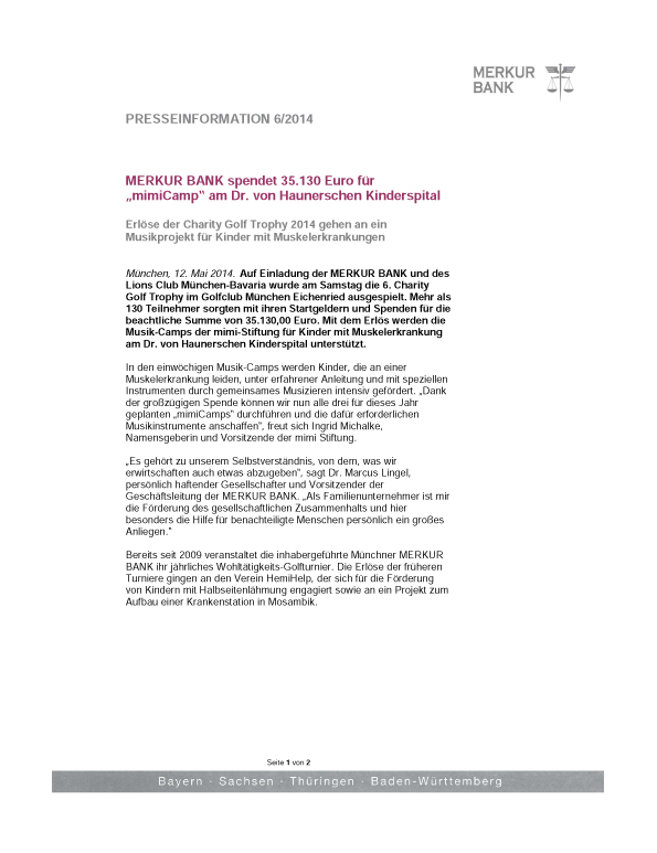 - Merkur Bank – Charity Golf Trophy 2014 Presseinformation